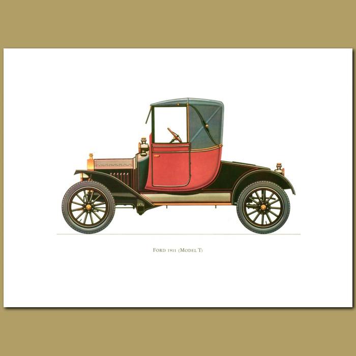Vintage car print. Ford 1911 Model T