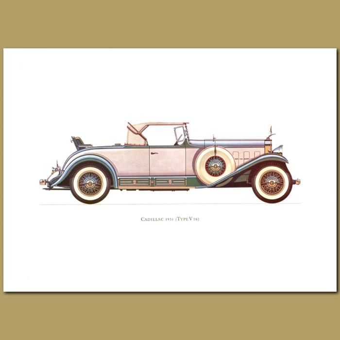 Vintage car print. Cadillac 1931 Type V16