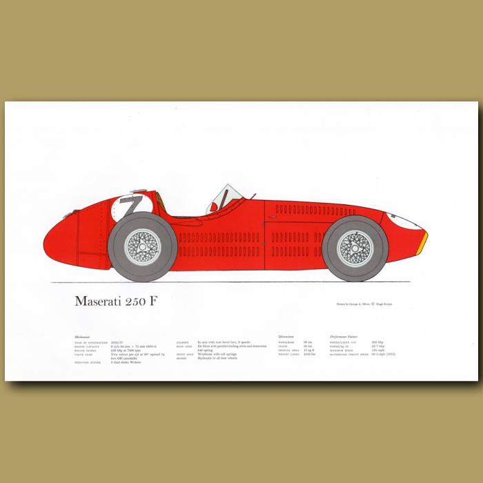 Vintage car print. Maserati 250F