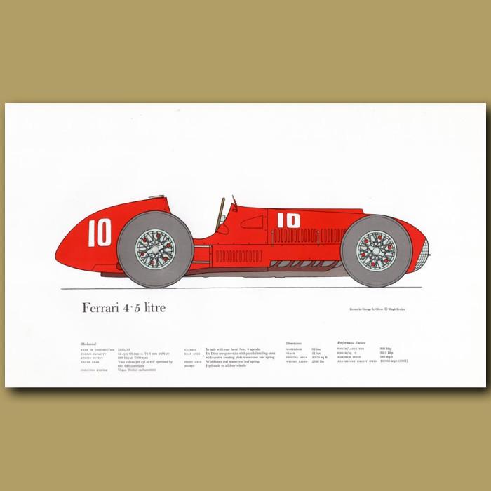 Vintage car print. Ferrari 4.5 litre
