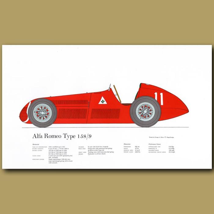 Vintage car print. Alfa Romeo Type 1 58/9