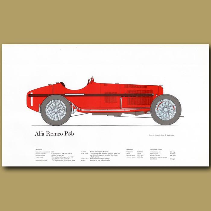 Vintage car print. Alfa Romeo P3b