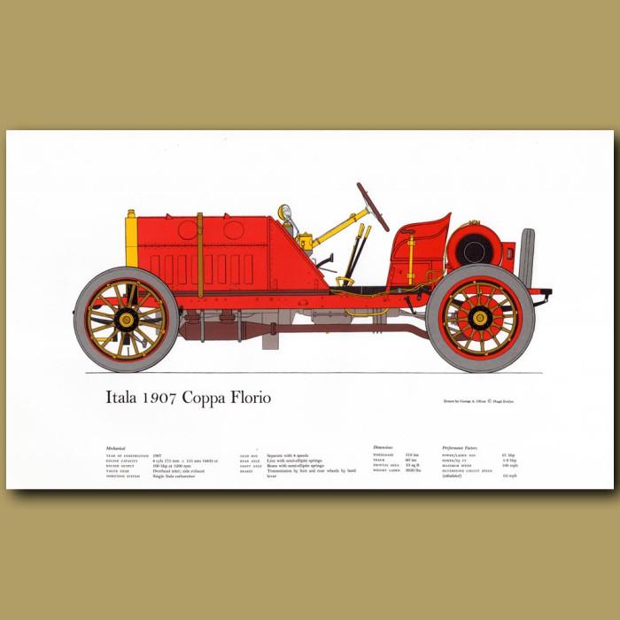 Vintage car print. Itala 1907 Coppa Florio