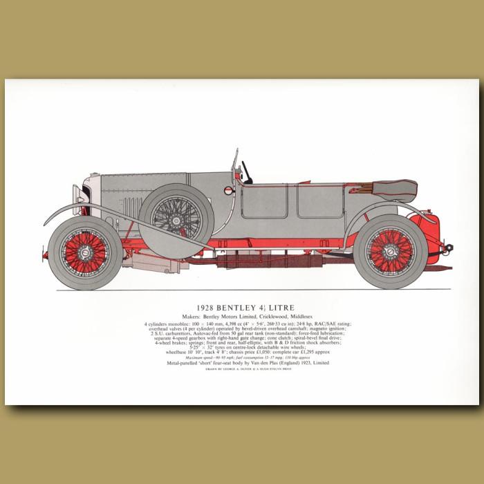 Vintage car print. 1928 Bentley 4.5 litre
