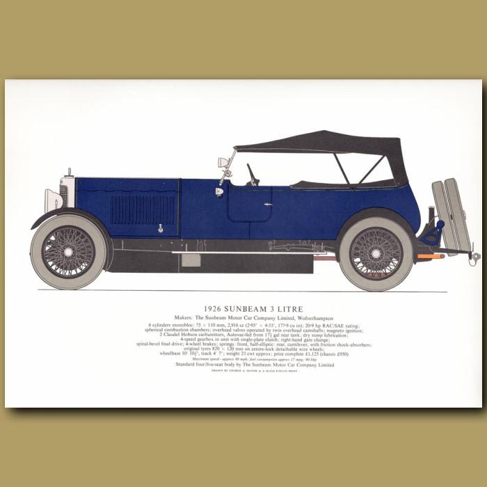Vintage car print. 1926 Sunbeam 3 litre