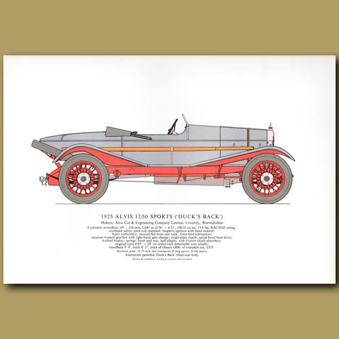 Vintage car print. 1925 Alvis 12/50 ('Duck's Back')