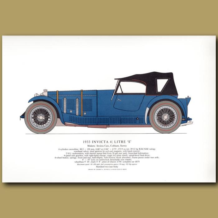 Vintage car print. 1933 Invicta 4.5 litre 'S'