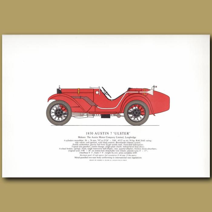 Vintage car print. 1930 Austin 7 'Ulster'