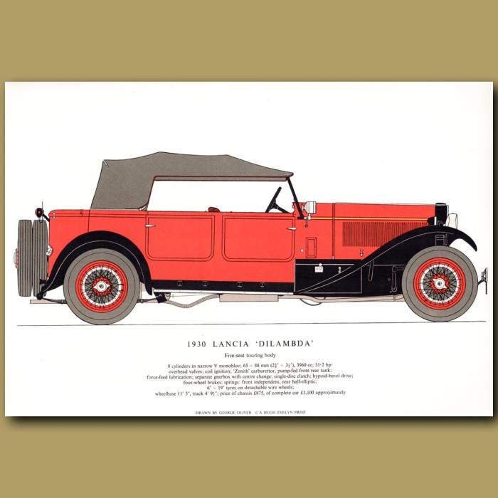 Vintage car print. 1930 Lancia 'Dilambda'