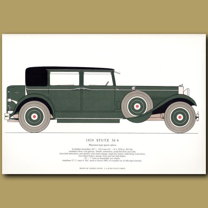 Vintage car print. 1929 Stutz 36.4