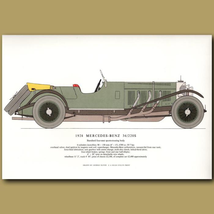 Vintage car print. 1928 Mercedes-Benz 36/220S