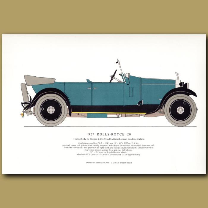 Vintage car print. 1927 Rolls-Royce 20