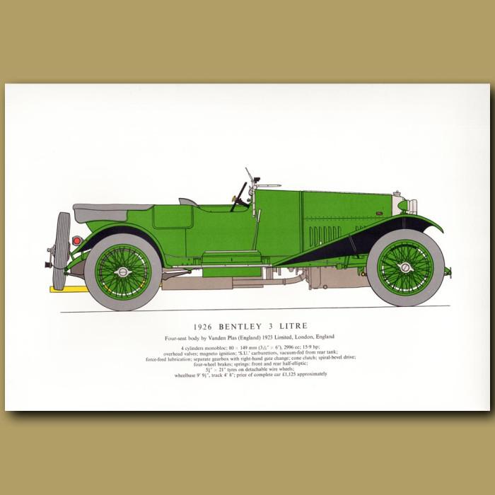 Vintage car print. 1926 Bentley 3 litre