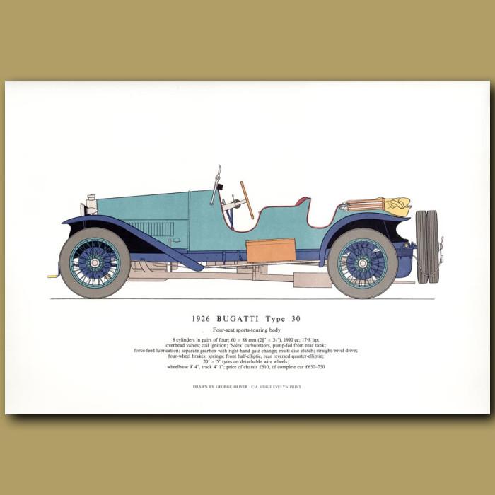 Vintage car print. 1926 Bugatti Type 30