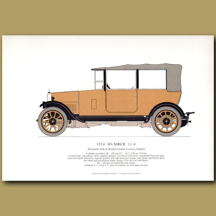 Vintage car print. 1924 Humber 11.4