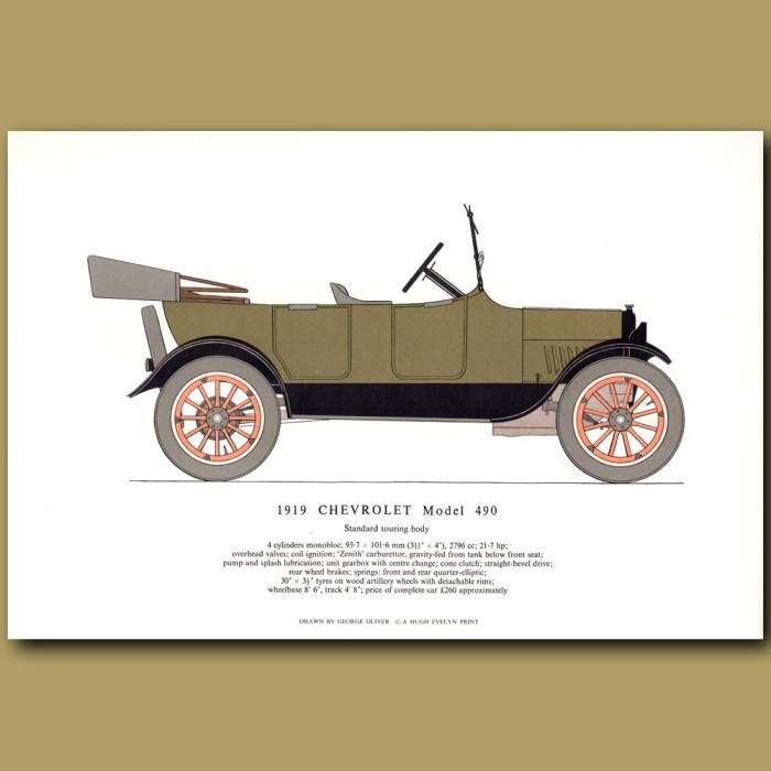 Vintage car print. 1919 Chevrolet Model 490