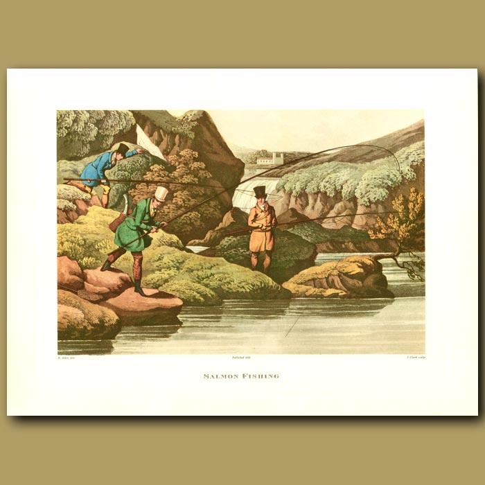 Antique print. Salmon Fishing By Henry Alken