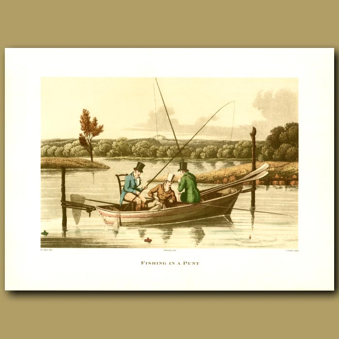 Antique print. Fishing In A Punt By Henry Alken
