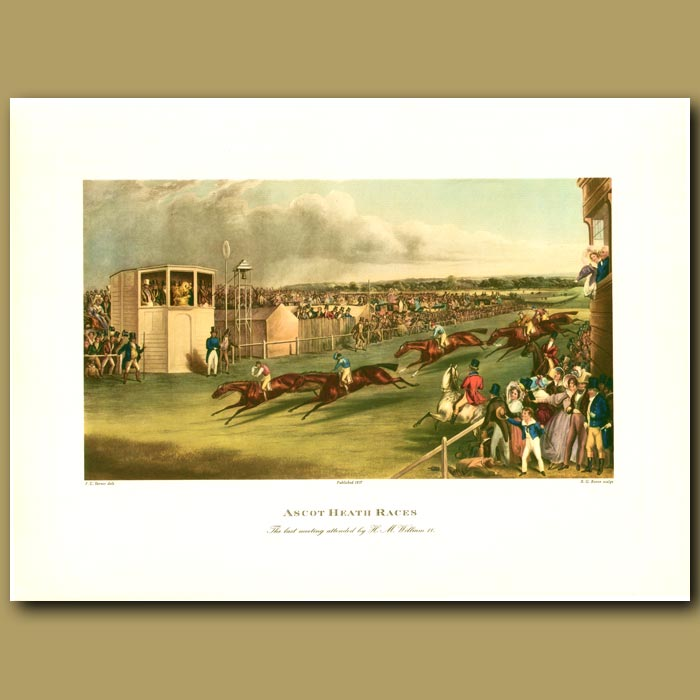 Antique print. Horse Racing. Ascot Heath Races By F. C Turner