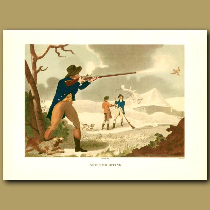 Antique print. Snipe Shooting