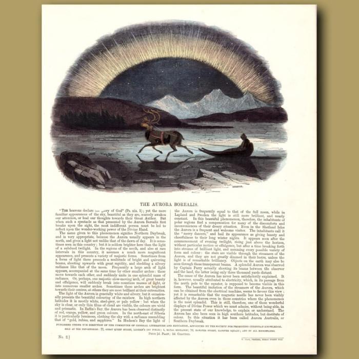 The Aurora Borealis: Genuine antique print for sale.