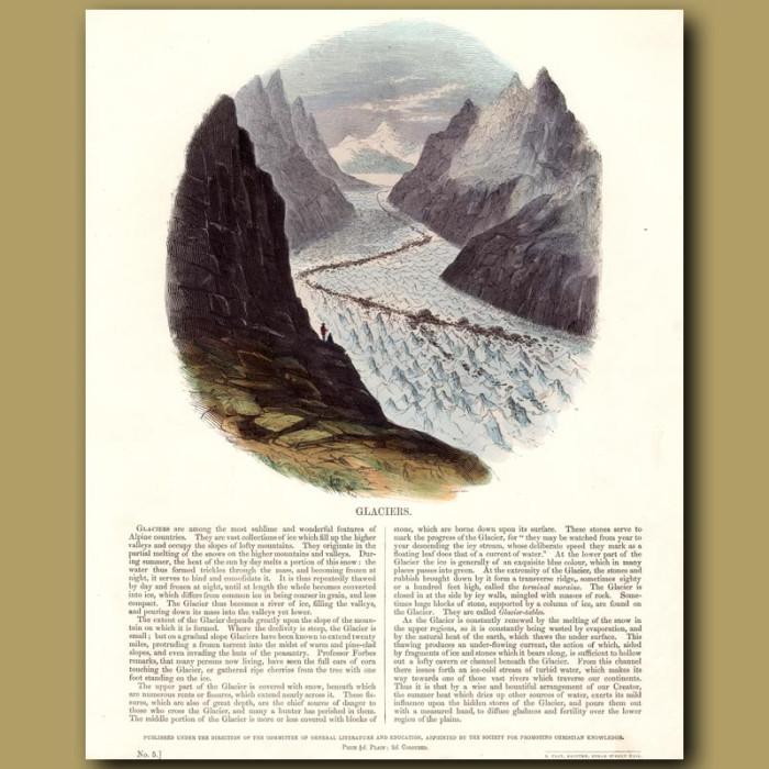 Glaciers: Genuine antique print for sale.