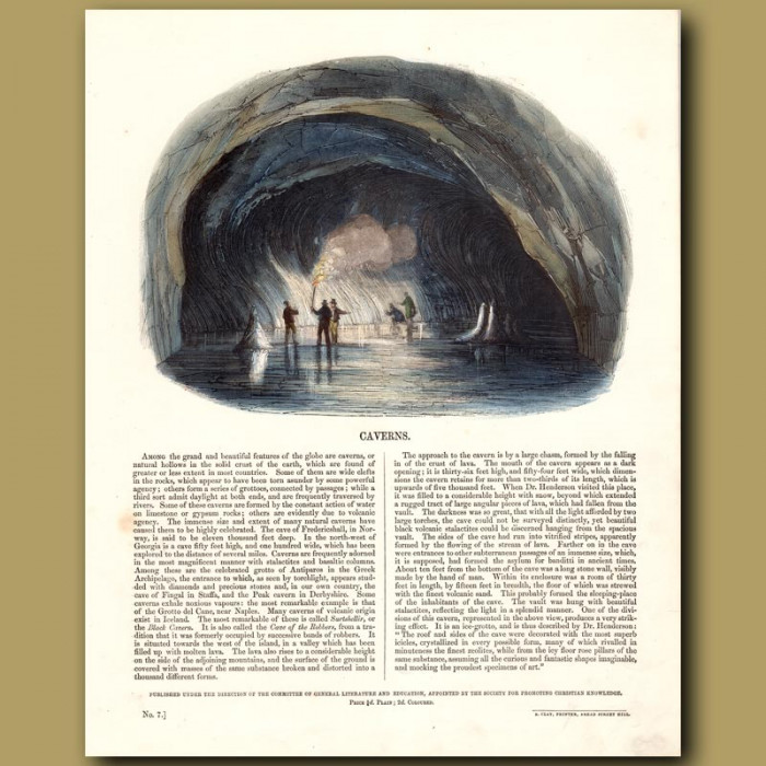 Caverns: Genuine antique print for sale.