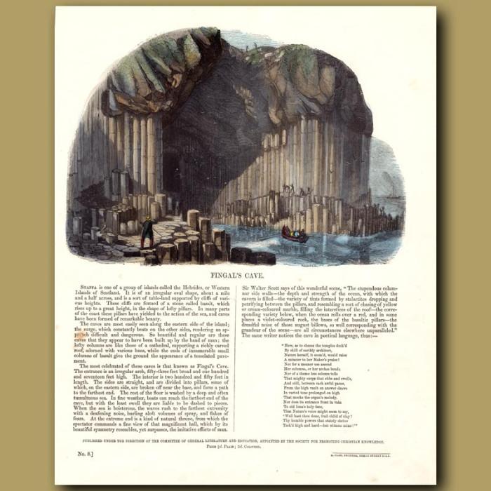 Fingal's Cave: Genuine antique print for sale.