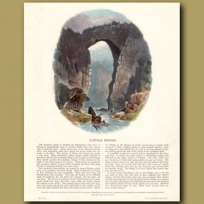 Natural Bridges: Genuine antique print for sale.