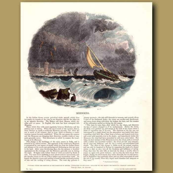 Monsoons: Genuine antique print for sale.