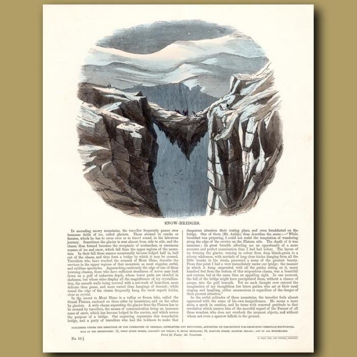 Snow Bridges: Genuine antique print for sale.
