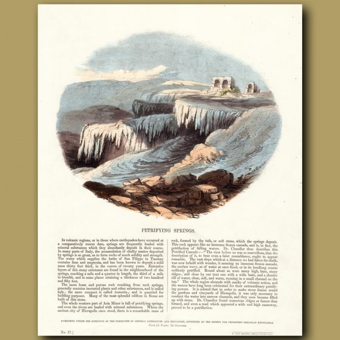 Petrifying Springs: Genuine antique print for sale.