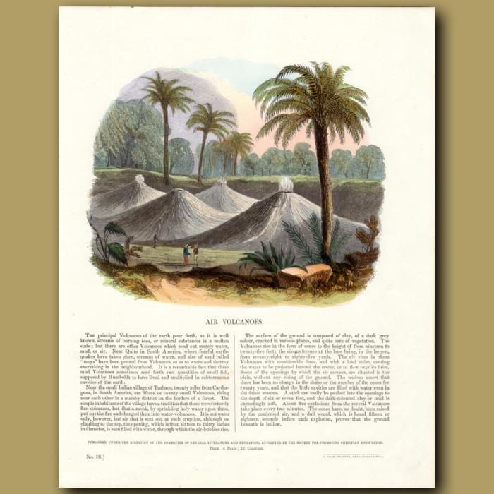 Air Volcanoes: Genuine antique print for sale.