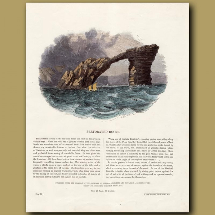 Perforated Rocks: Genuine antique print for sale.