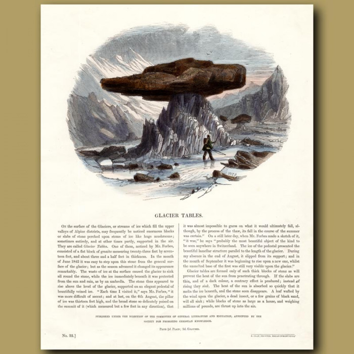 Glacier Tables: Genuine antique print for sale.