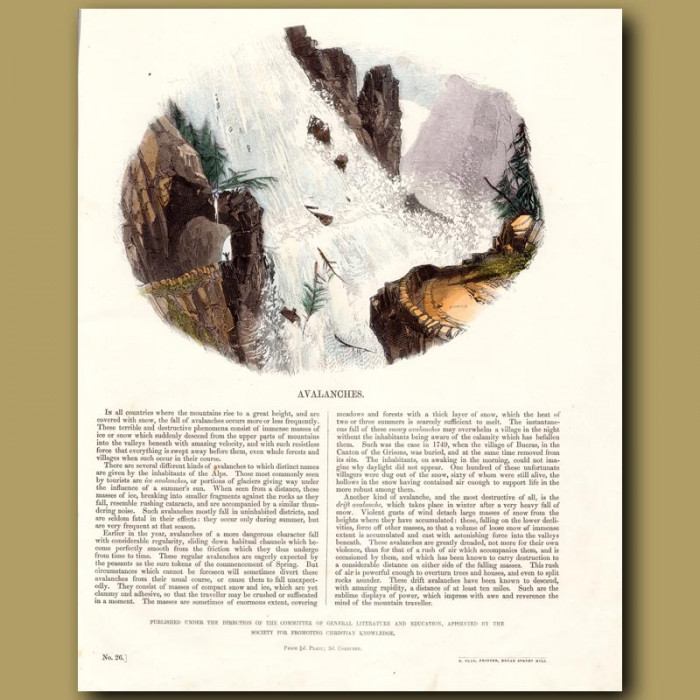 Avalanches: Genuine antique print for sale.