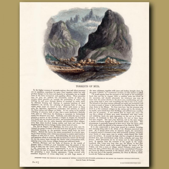Torrents of Mud: Genuine antique print for sale.