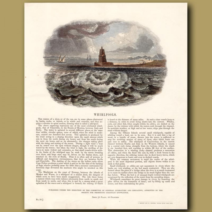 Whirlpools: Genuine antique print for sale.