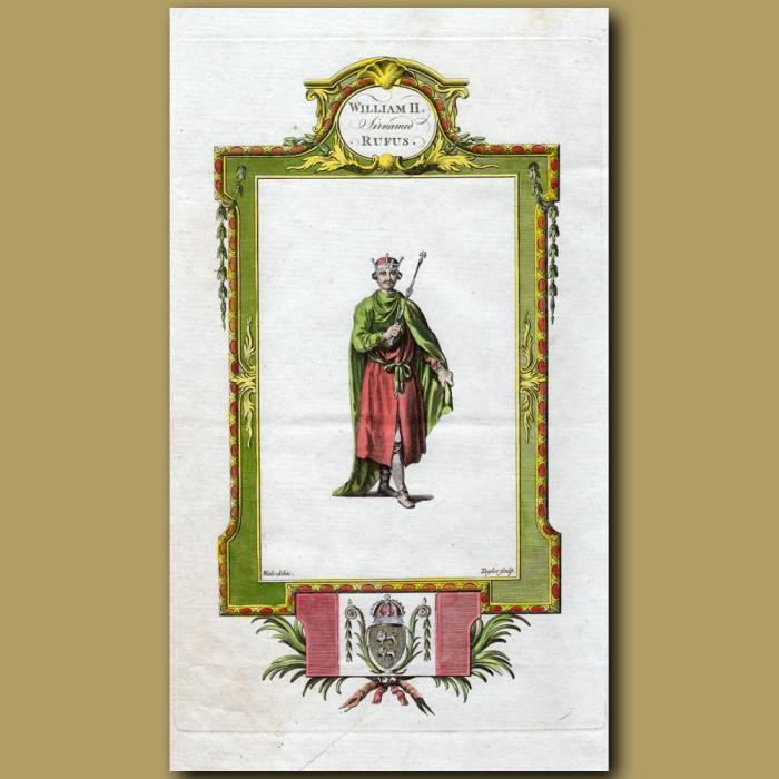 King William II Surnamed Rufus: Genuine antique print for sale.