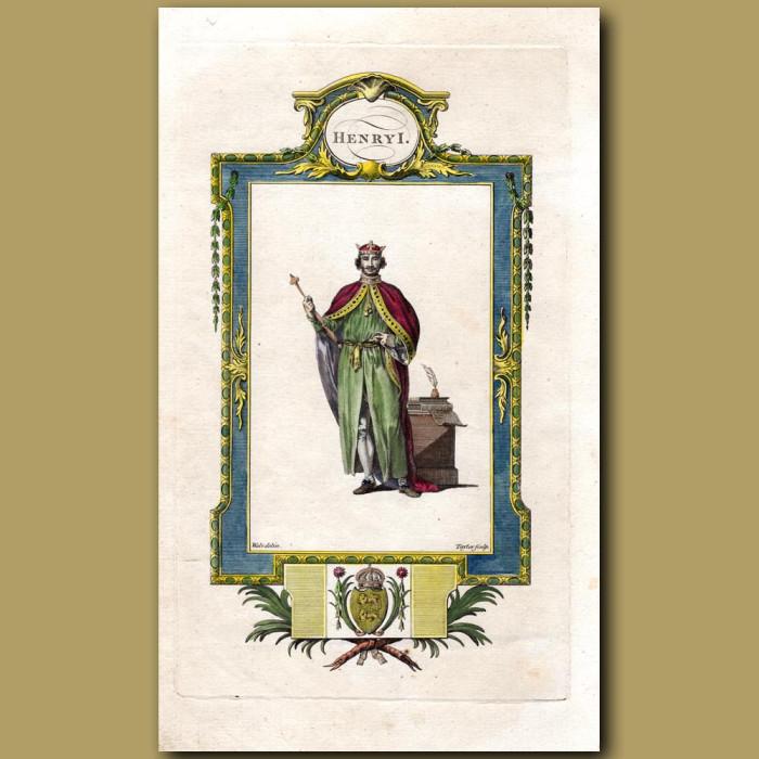 King Henry I: Genuine antique print for sale.