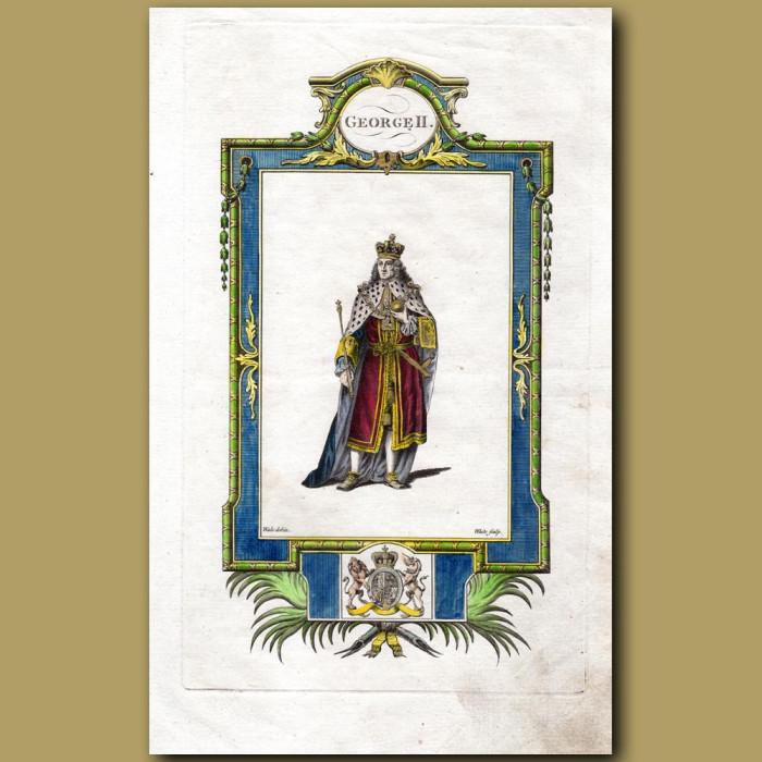 King George II: Genuine antique print for sale.