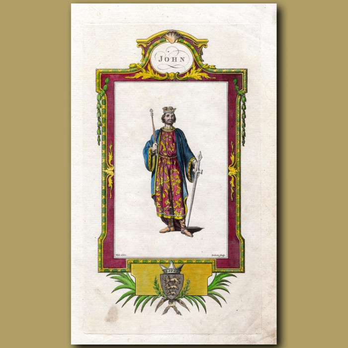 King John: Genuine antique print for sale.