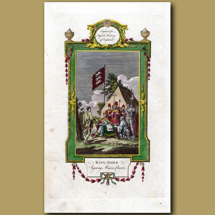 King John Signing Magna Charta: Genuine antique print for sale.