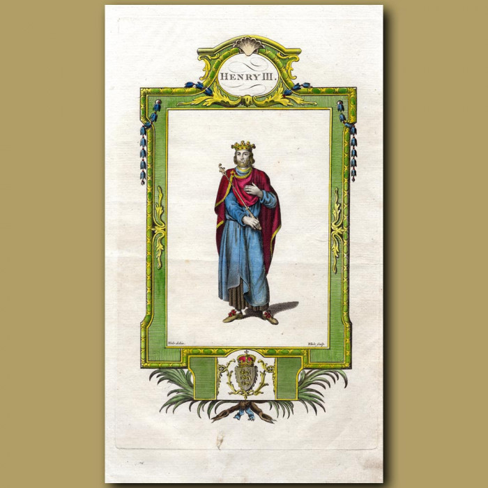 King Henry III: Genuine antique print for sale.