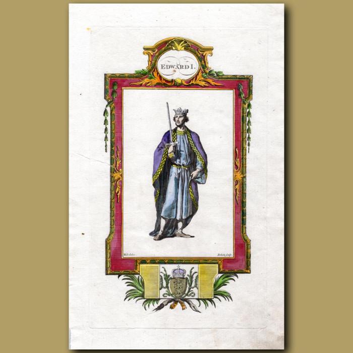 King Edward I: Genuine antique print for sale.