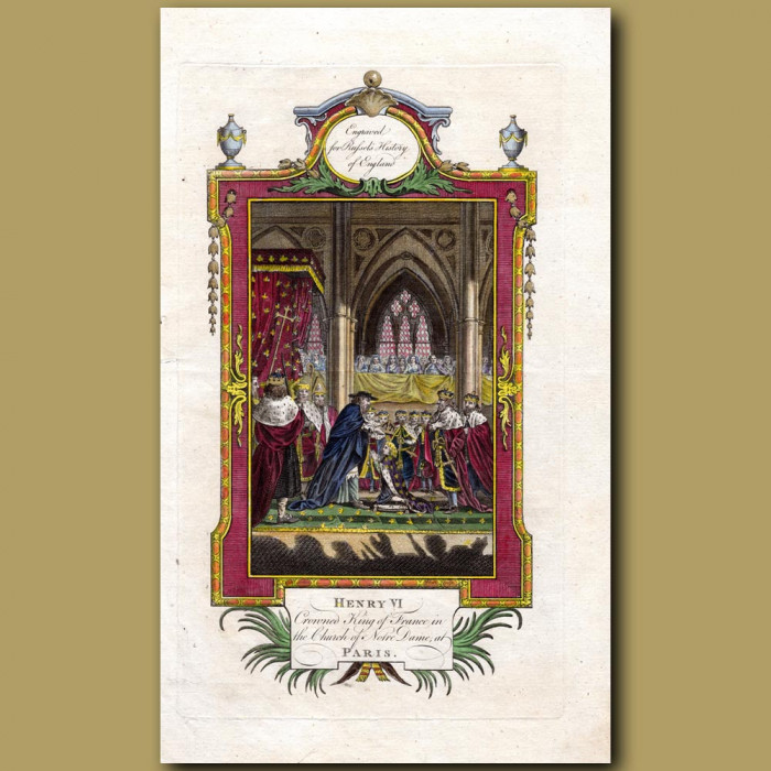 Henry VI Crowned King Of France In The Church Of Notre Dame At Paris: Genuine antique print for sale.