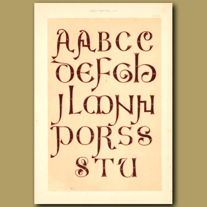 Antique print. Sixth Century No. 1. Letters From Manuscript In Bodleian Library