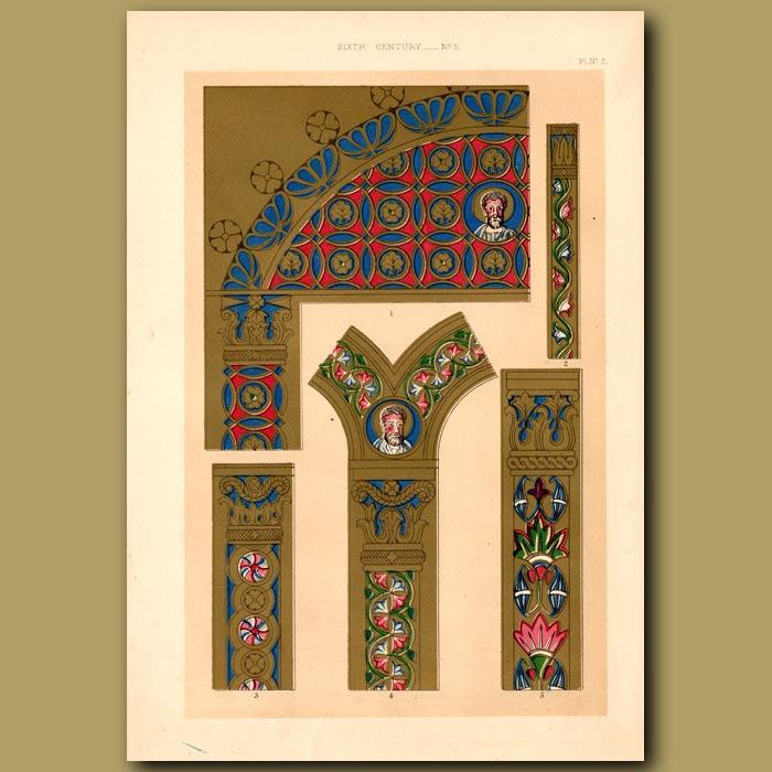 Antique print. Sixth Century No. 2. Illuminations From Golden Greek Canons Of Eusebius In The British Museum