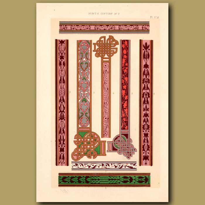 Antique print. Ninth Century No. 3. Illuminations From Bible Of Charles Le Chauvre (Charlemagne's Grandson)