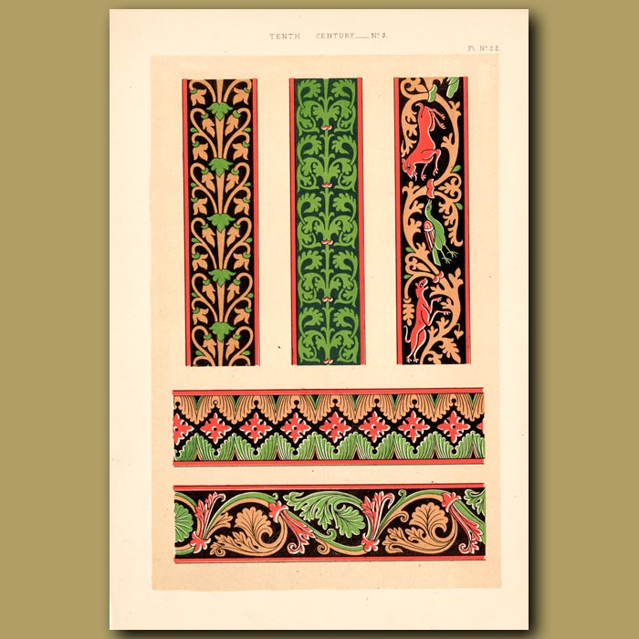 Antique print. Tenth Century No. 3. Borders From Bible Of Limoges, France